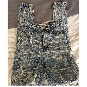 Denim - Acid wash high waisted distressed jeans